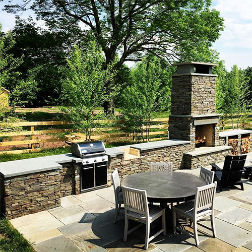 Bluestone outdoor kitchen Sullivan County, NY Catskills