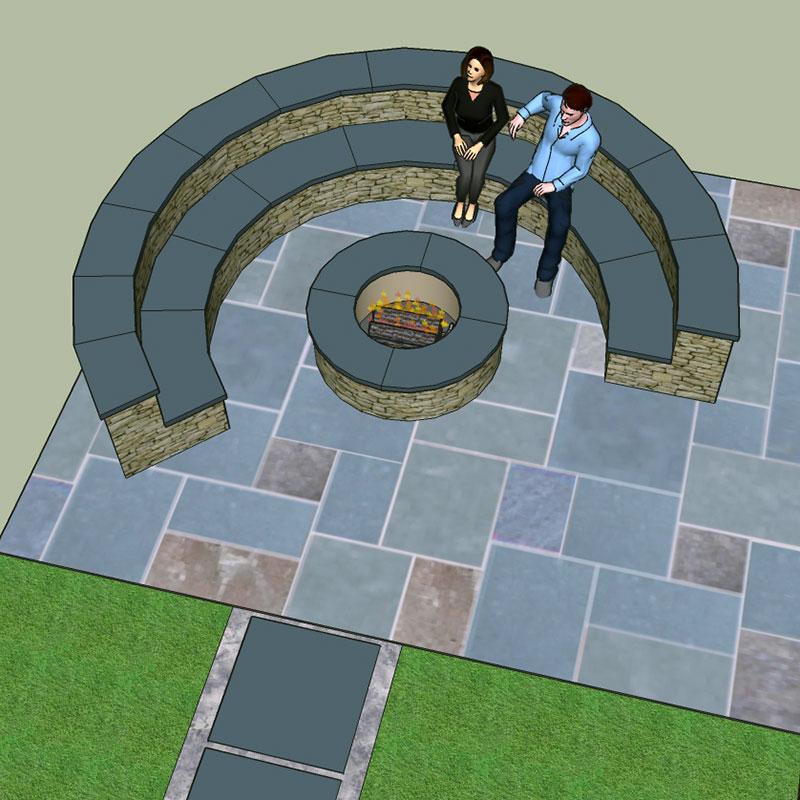 Circular Stone Seating Wall and Firepit Roscoe NY