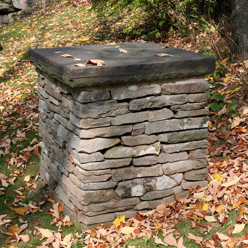 Horizontal Stone Veneer Column With Cap Sullivan County NY