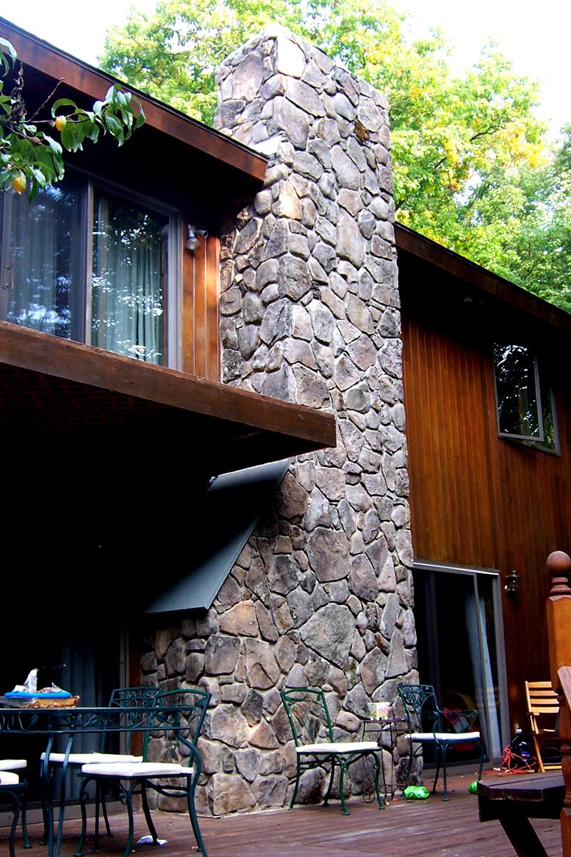 Vertical Stone Veneer Fireplace Chimney Sullivan County NY