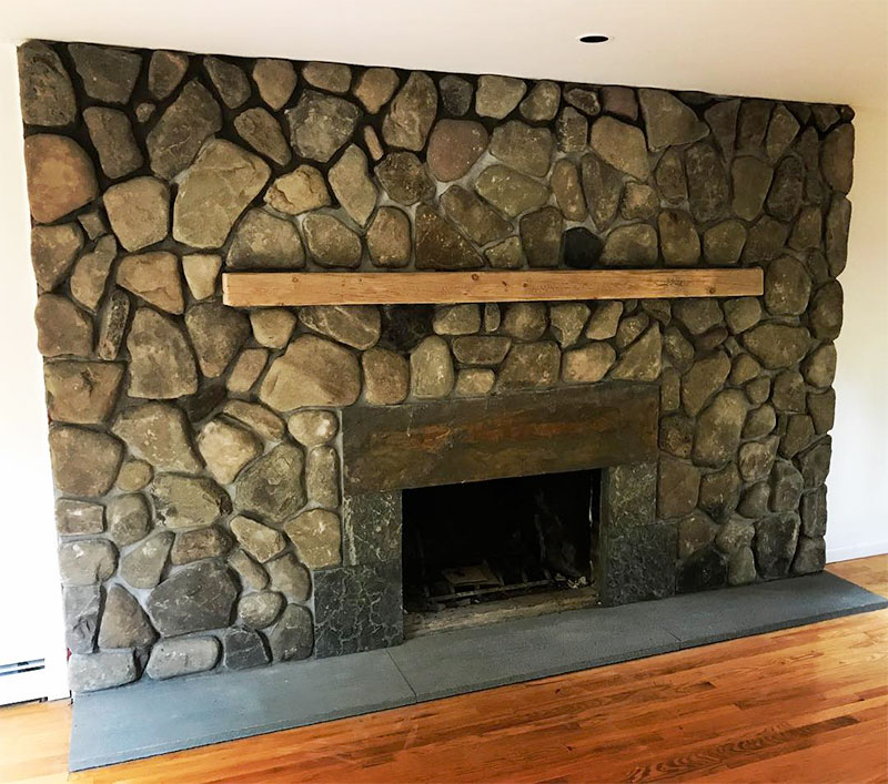 Natural Fieldstone Interior Fireplace Wood Mantle Sullivan County NY