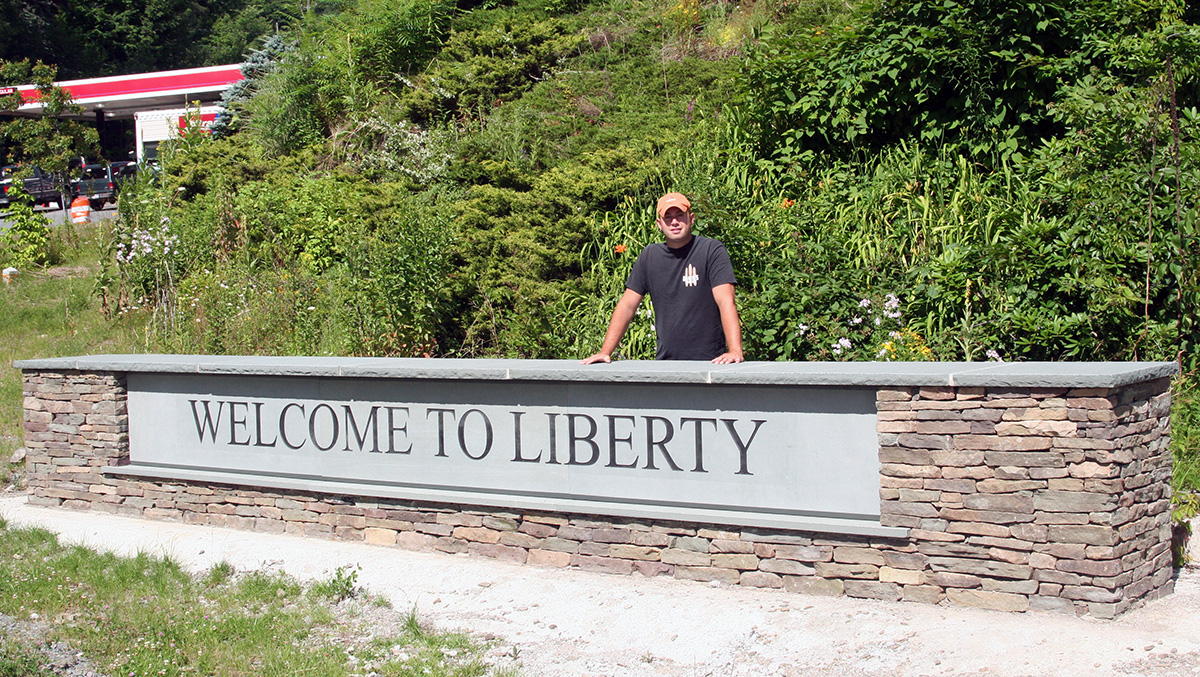 Liberty NY Stone Entry Sign