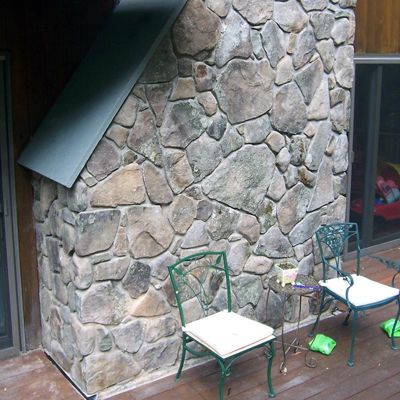 Vertical Stone Veneer Fireplace Sullivan County NY