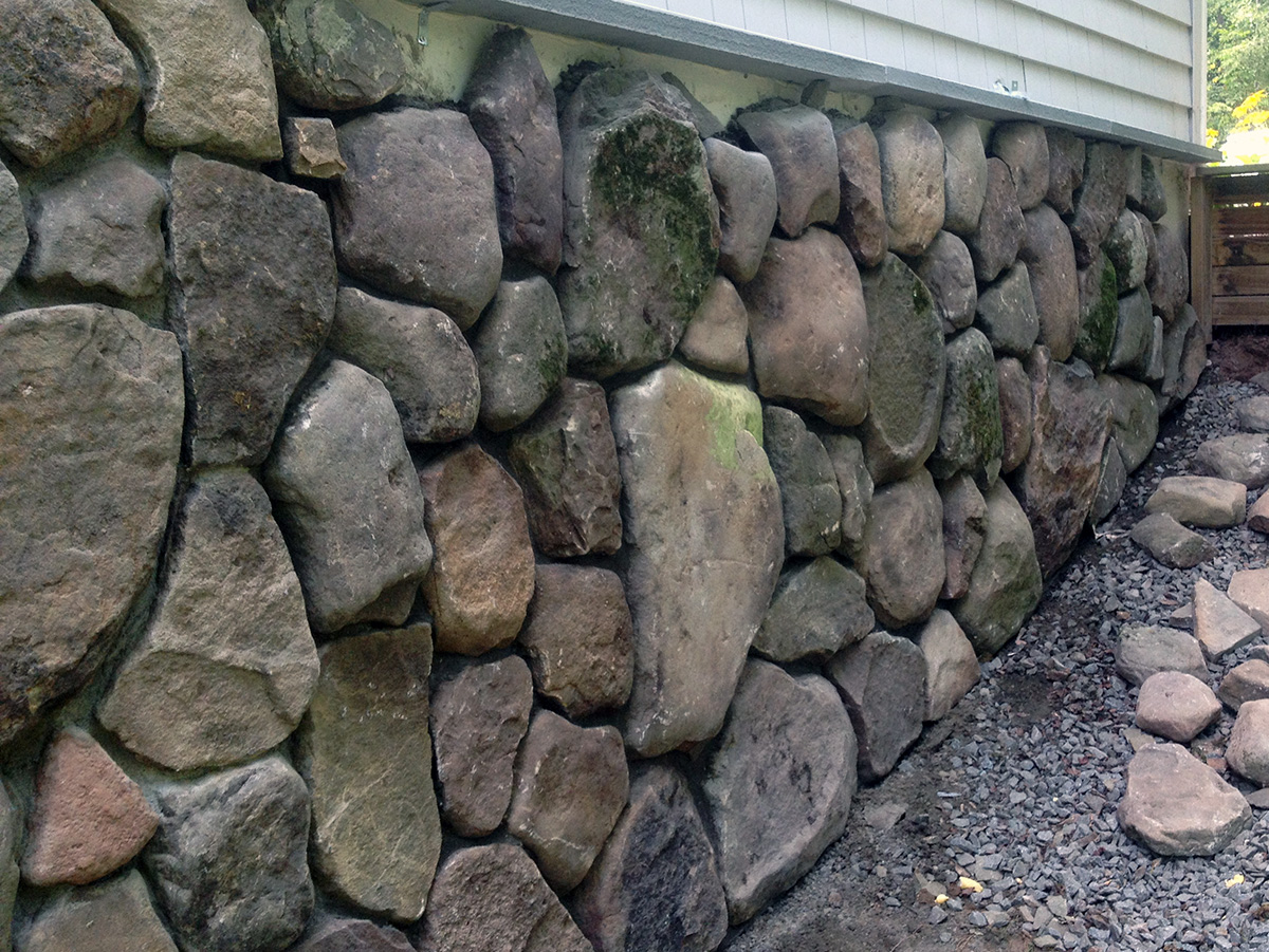 Stone Veneer Base of Home Sullivan County NY