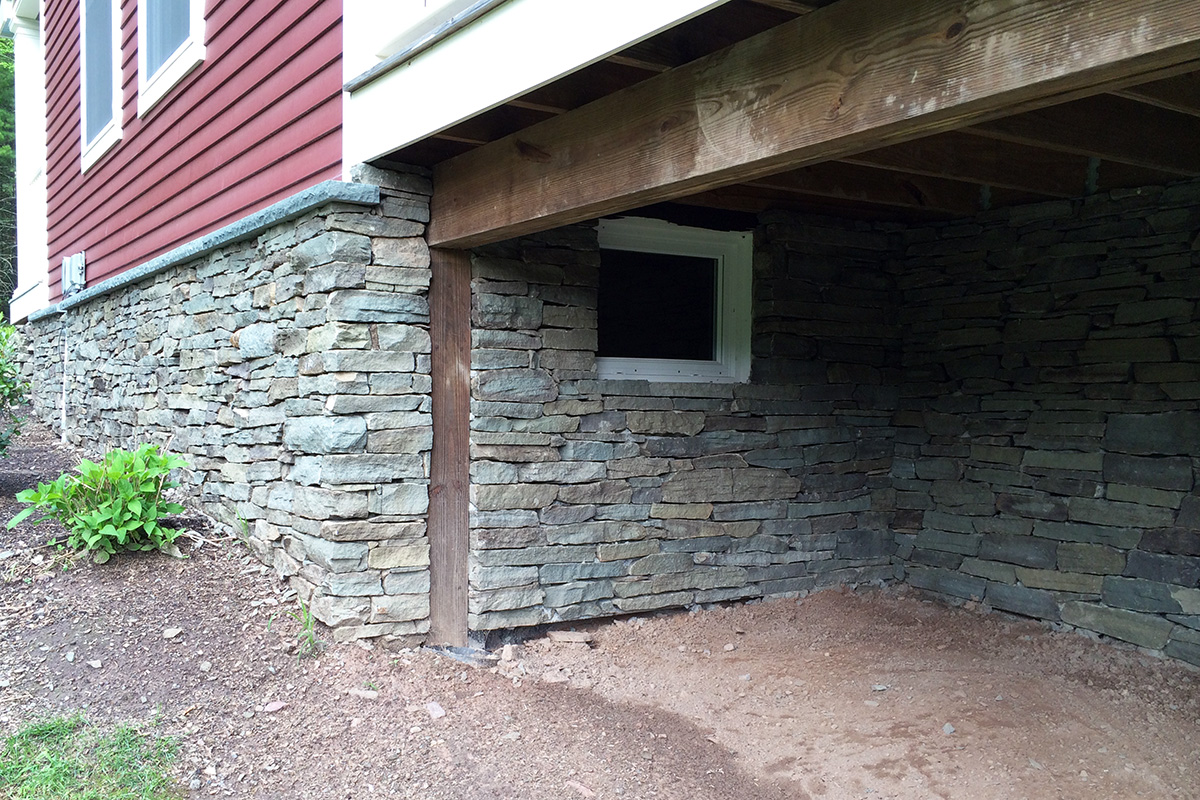 Natural Fieldstone Veneer Home Foundation Wall Sullivan County NY