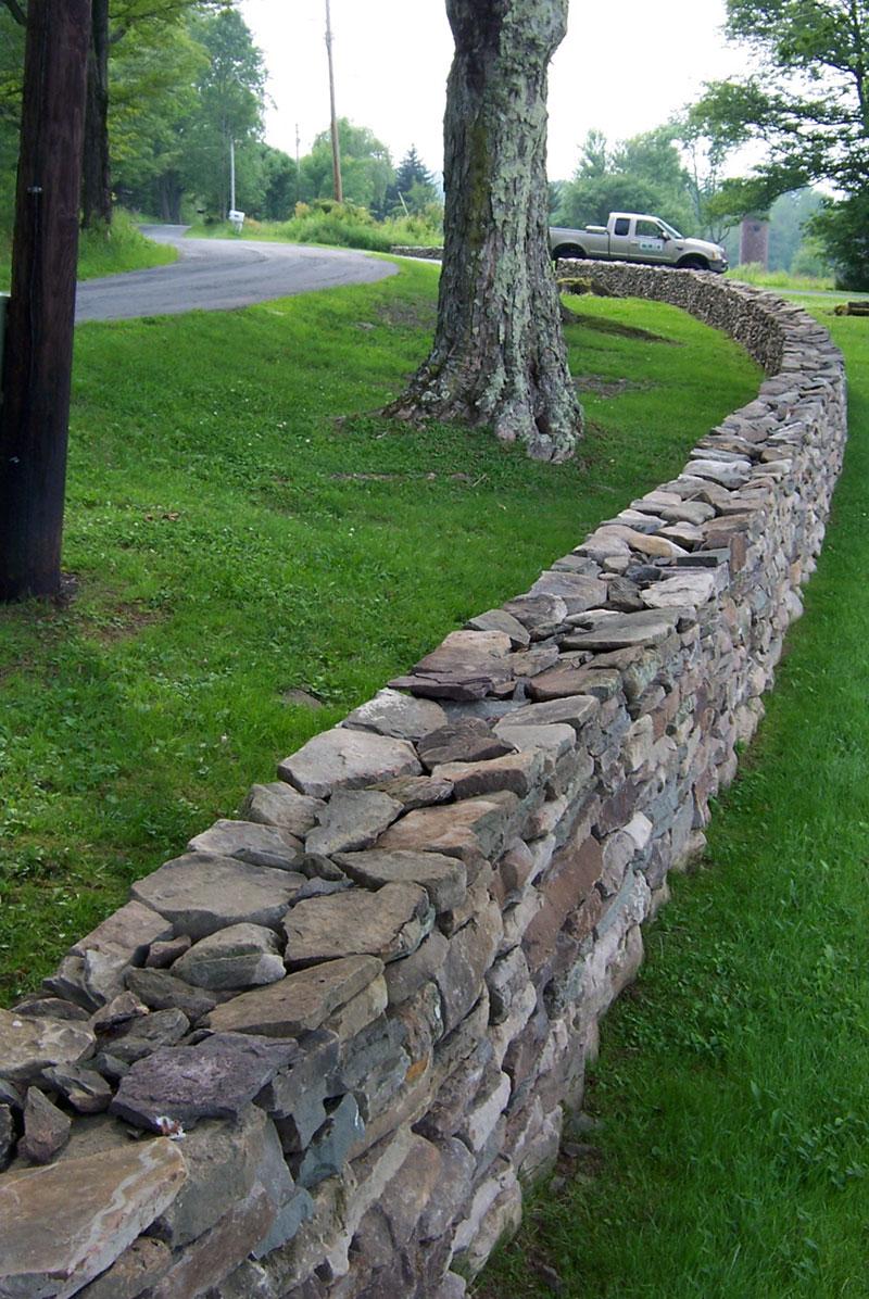 Long Freestanding Stone Wall Sullivan County NY Cochecton