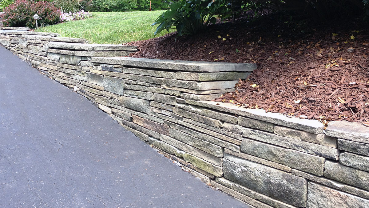 Weathered Bluestone Retaining Wall Sullivan County NY